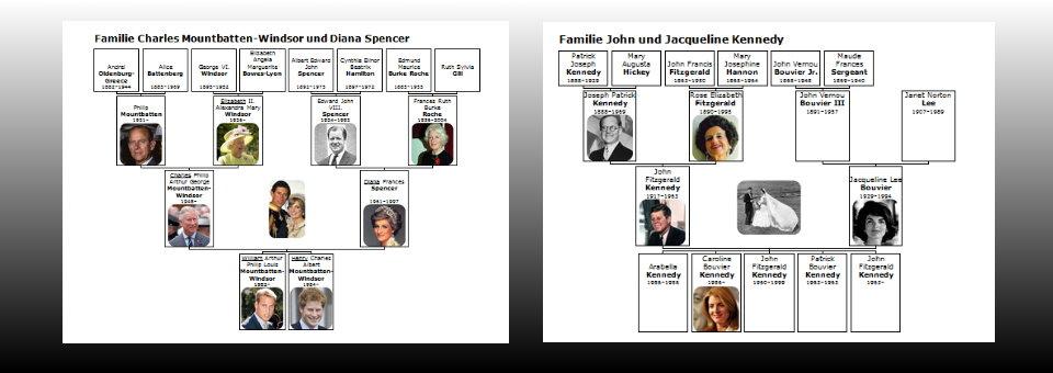 Familiendiagramme erleichtern die Übersicht...